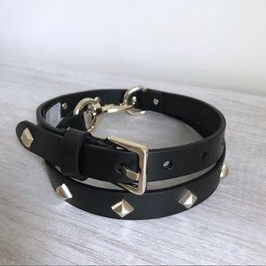 REBECCA MINKOFF Black Dog Clip Studded Belt Small